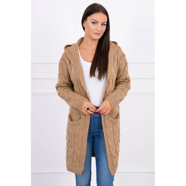 Women's sweater with hood and pockets MI2019-24 camel