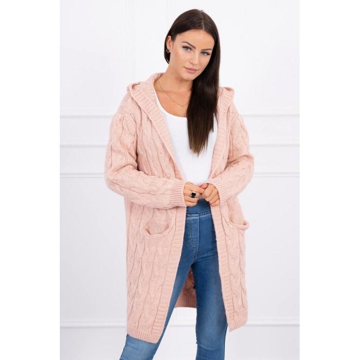 Dámský svetr s kapucí a kapsami MI2019-24 pudrově růžový