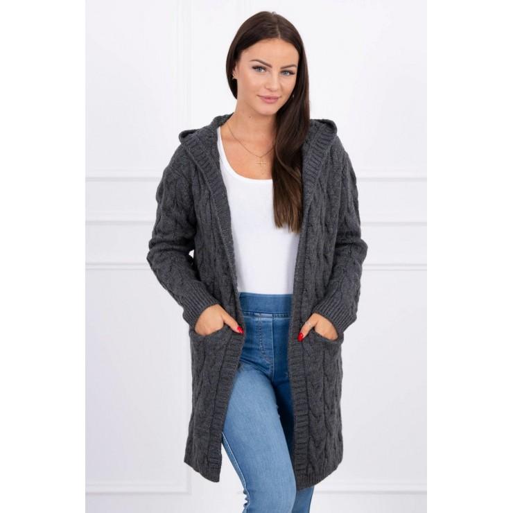 Dámsky sveter s kapucňou a vreckami MI2019-24 grafitový