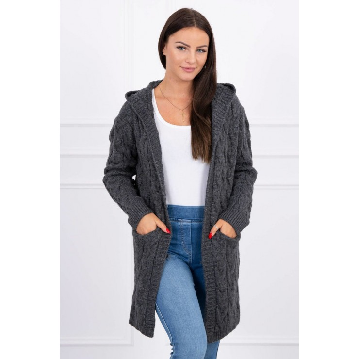 Women's sweater with hood and pockets MI2019-24 graphite