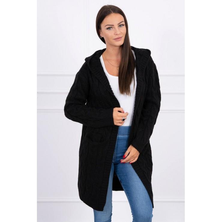 Dámsky sveter s kapucňou a vreckami MI2019-24 čierny