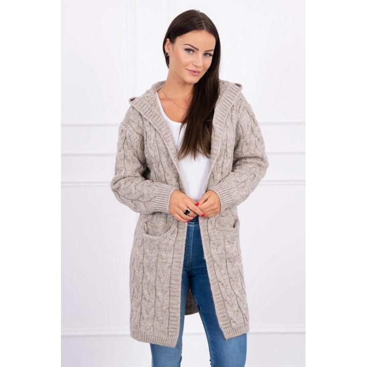 Dámsky sveter s kapucňou a vreckami MI2019-24 béžový