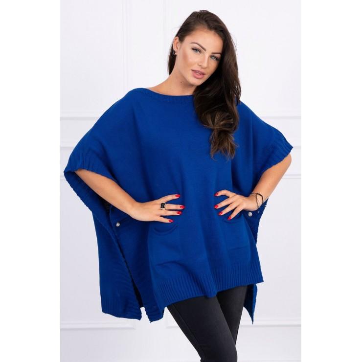 Dámsky sveter pončo MI2019-23 azurovo modrý