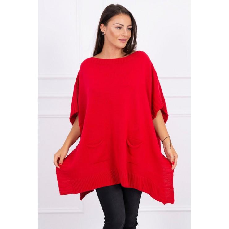 Poncho sweater MI2019-23 red