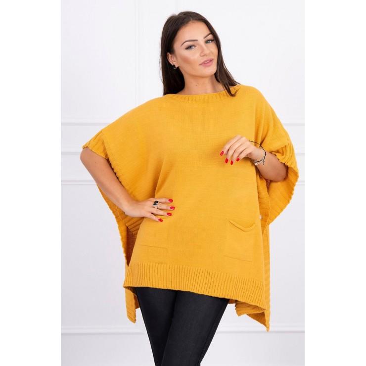 Poncho sweater MI2019-23 mustard