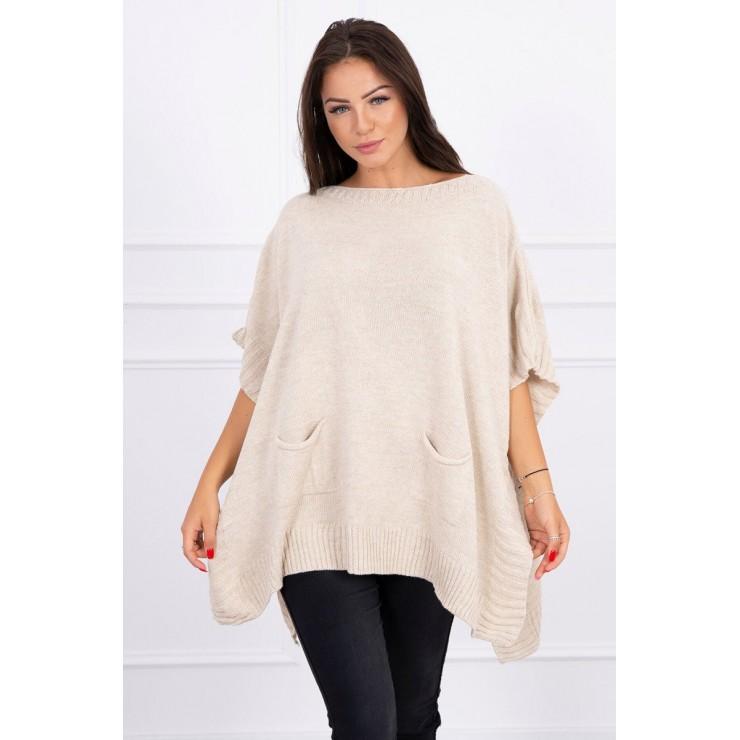 Poncho sweater MI2019-23 beige