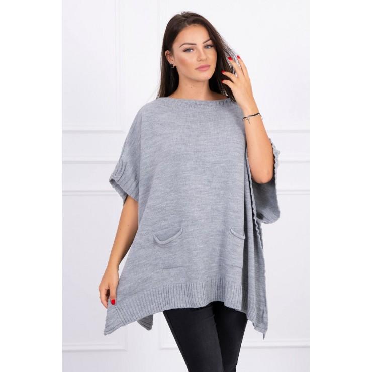 Poncho sweater MI2019-23 gray