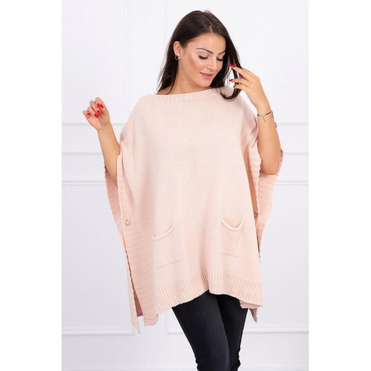 Poncho sweater MI2019-23 powder pink