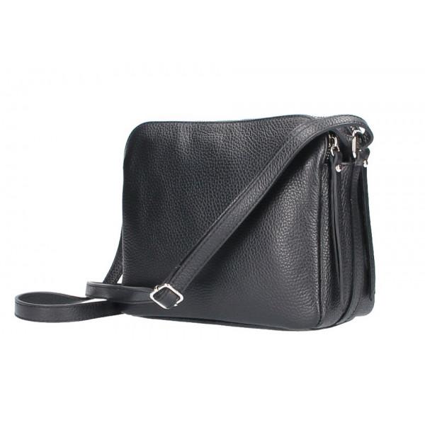 Kožená kabelka na rameno 517 čierna