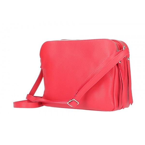 Kožená kabelka na rameno 517 červená