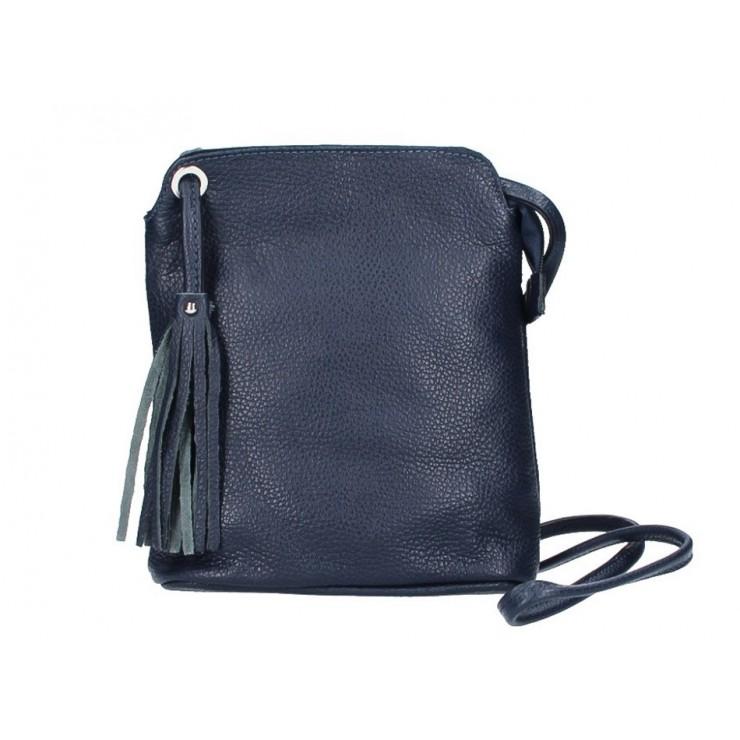 Kožená kabelka na rameno 5320 tmavomodrá