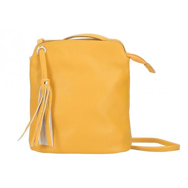 Kožená kabelka na rameno 5320 žltá Žltá