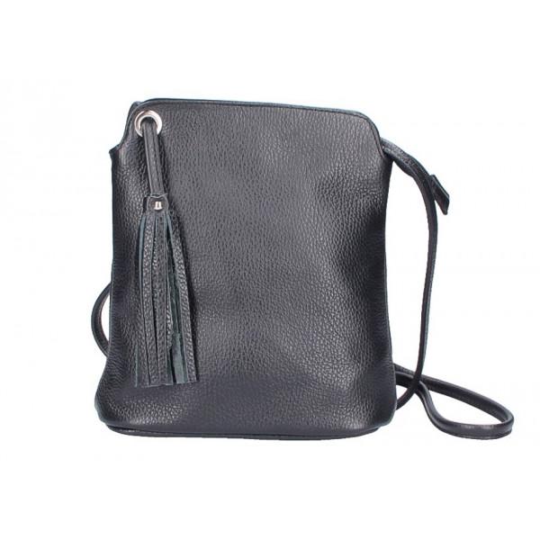 Kožená kabelka na rameno 5320 čierna