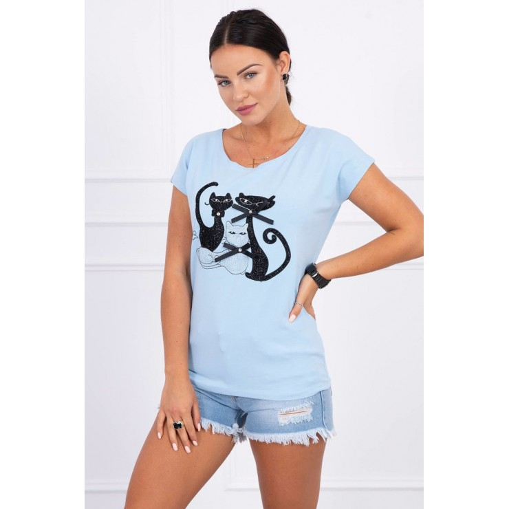 Women's T-shirt BLACK CAT light blue