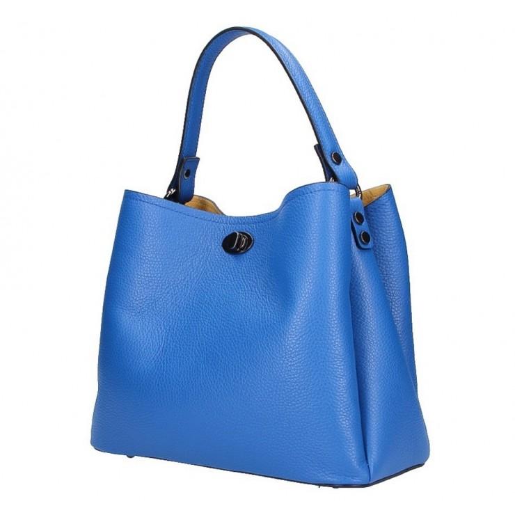 Kožená kabelka do ruky 232 azurovo modrá MADE IN ITALY