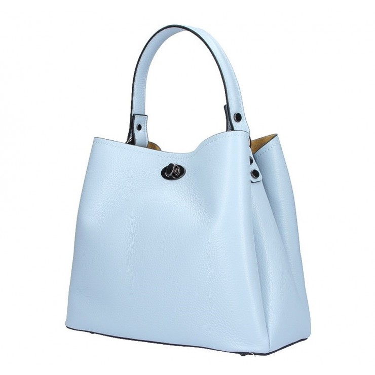 Genuine Leather Handbag 5321 light blue