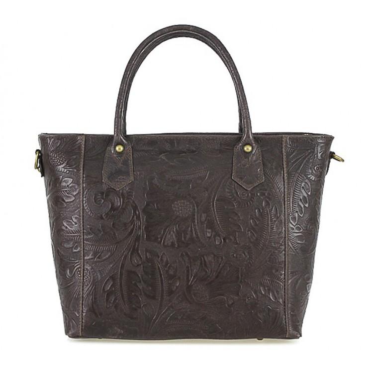 Italská kožená kabelka 405 tmavě hnědá