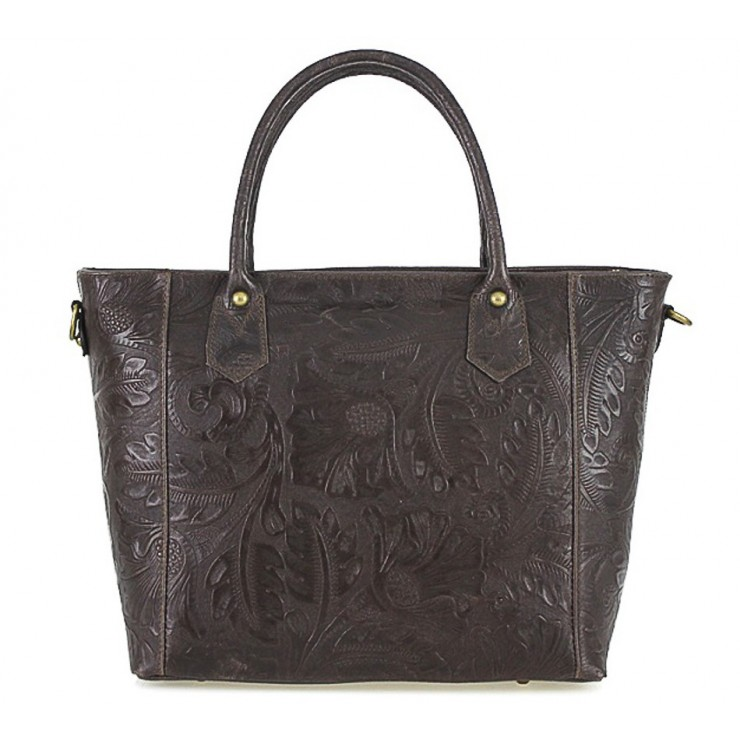 Talianska kožená kabelka 405 tmavohnedá