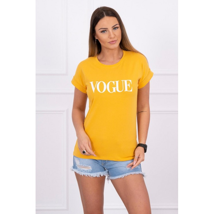 Women T-shirt VOGUE mustard