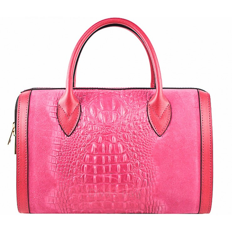 Leather handbag crocodile stamp 660 fuxia