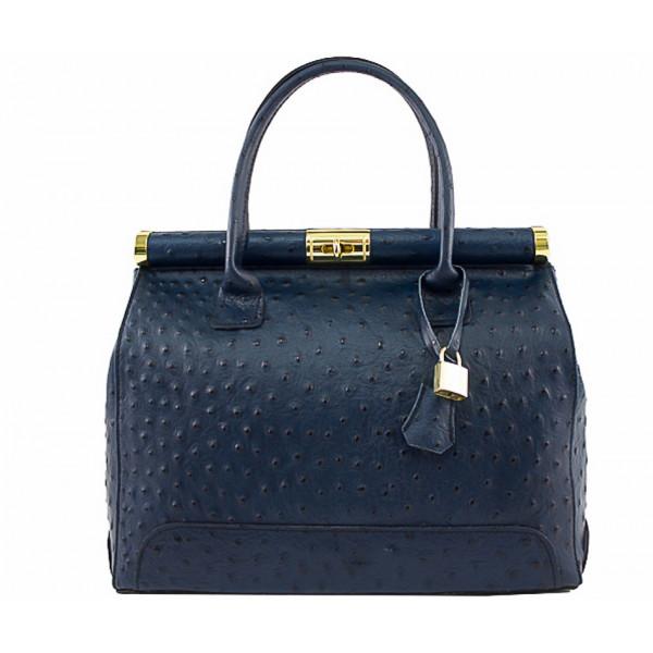 Modrá kožená kabelka do ruky 501