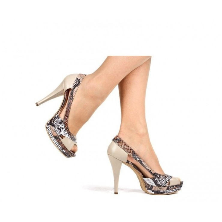 Woman high heels 649 beige Alisia Milano
