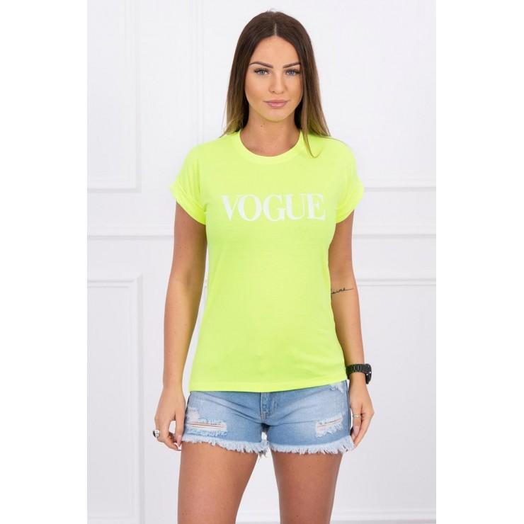 Women T-shirt VOGUE yellow neon