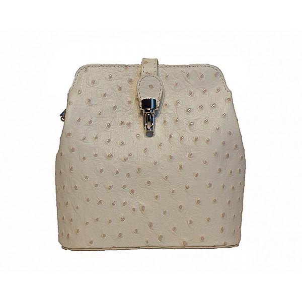 Kožená kabelka na rameno 603C béžová