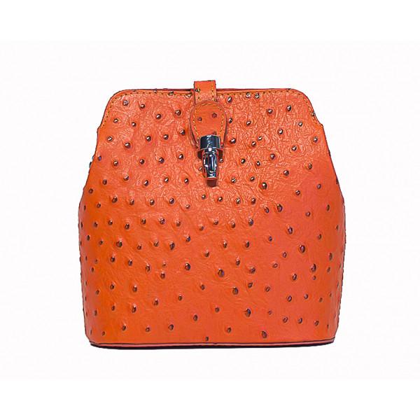 Kožená kabelka na rameno 603C oranžová