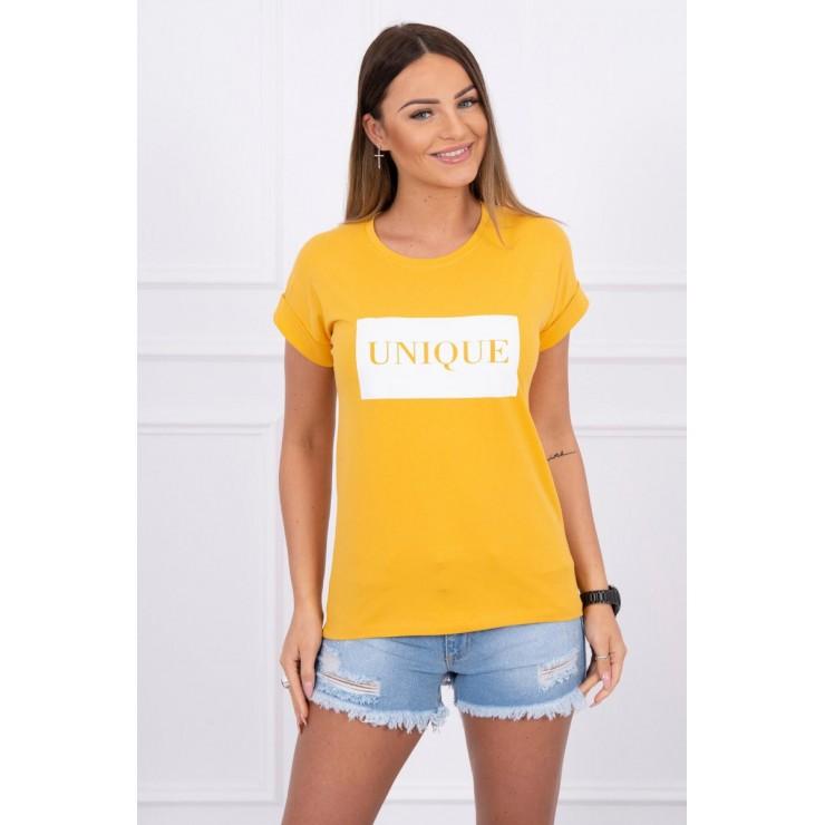 Women T-shirt UNIQUE mustard