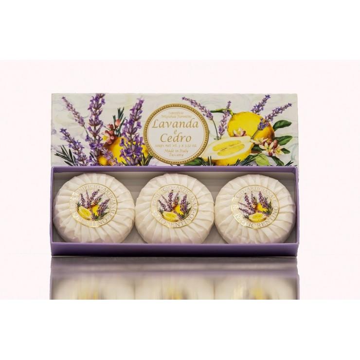 SA Fiorentino Prírodné tuhé mydlo Levanduľa a céder 3 x 100 g