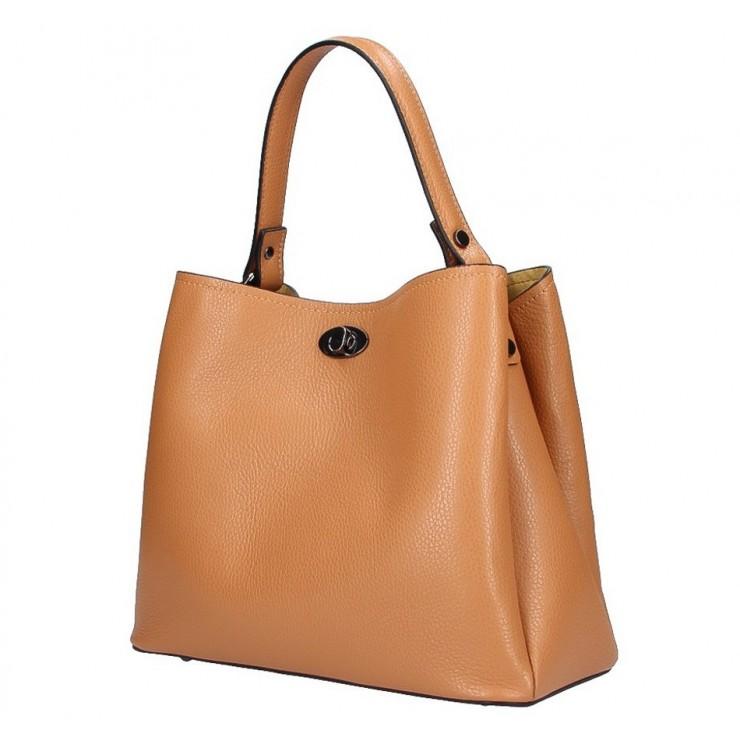 Genuine Leather Handbag 232 cognac MADE IN ITALY