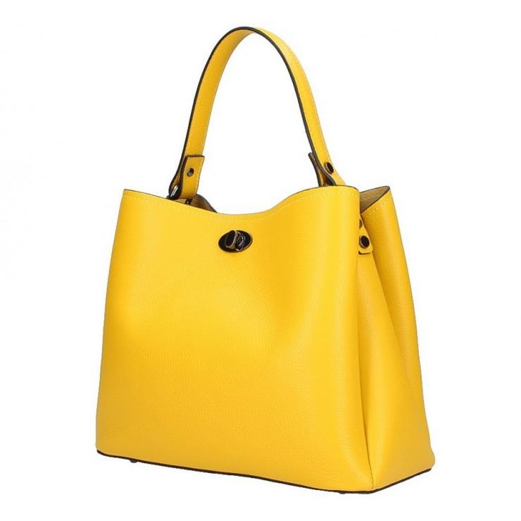 Kožená kabelka do ruky 232 žltá MADE IN ITALY