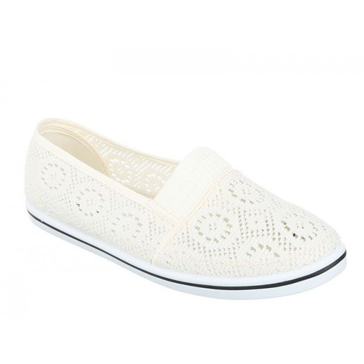 Woman Cream moccasins 61B