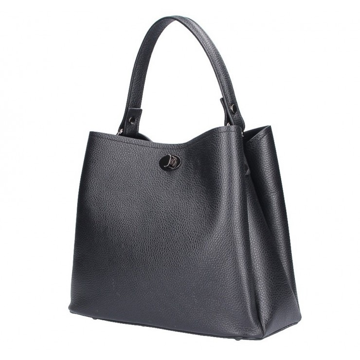Kožená kabelka do ruky 232 čierna MADE IN ITALY
