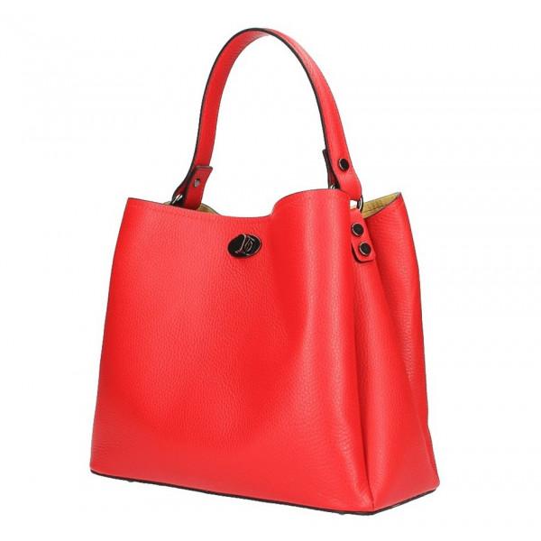 Kožená kabelka do ruky 232 červená MADE IN ITALY