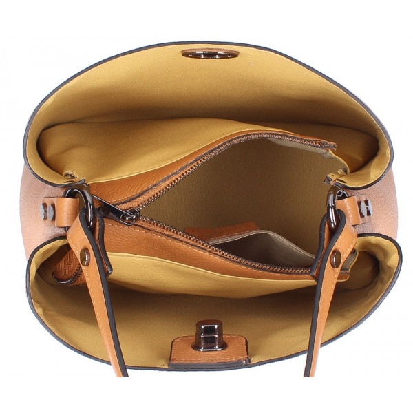 Kožená kabelka do ruky 232 šedohnedá MADE IN ITALY Šedohnedá
