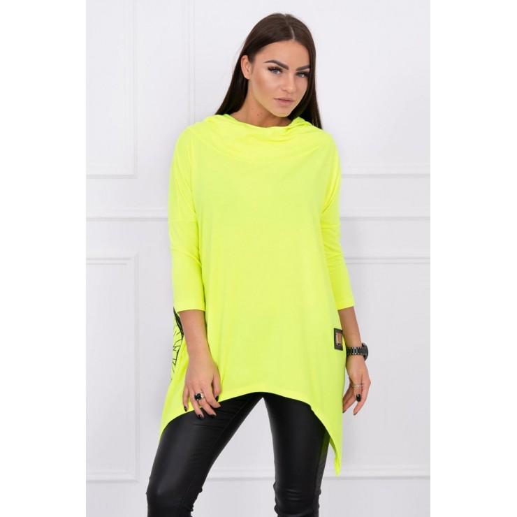 Women's sweatshirt with print of bicycle MI1934 yellow neon