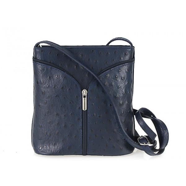 Kožená kabelka na rameno 603B modrá Made in Italy Modrá