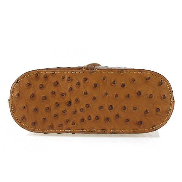 Kožená kabelka na rameno 603B koňaková