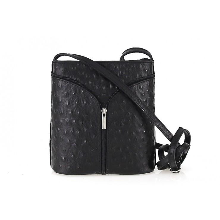 Kožená kabelka na rameno 603B čierna