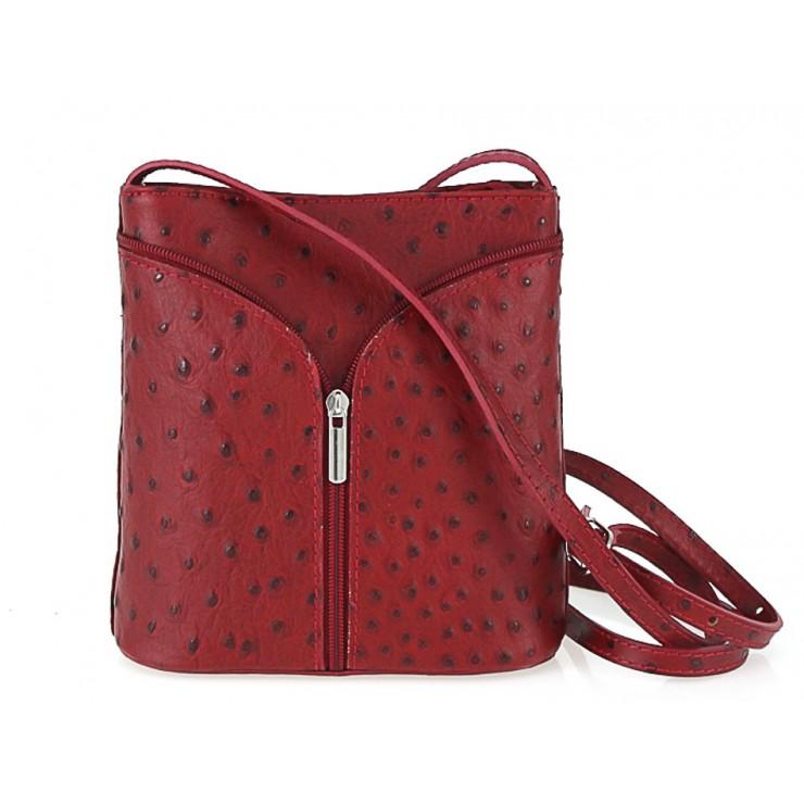 Kožená kabelka na rameno 603B rudá