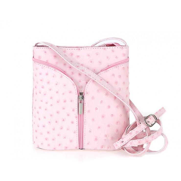 Kožená kabelka na rameno 603B ružová