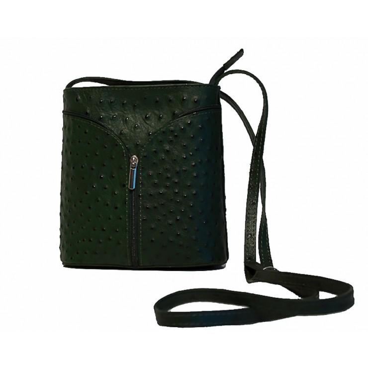 Kožená kabelka na rameno 603B tmavozelená