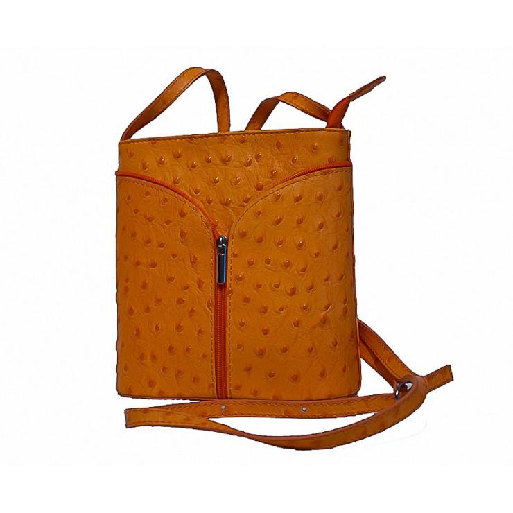Kožená kabelka na rameno 603B oranžová