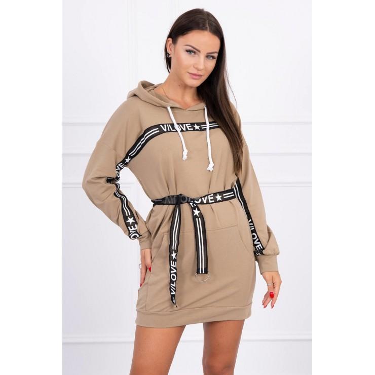 Dress decorated with belt MI0140 camel