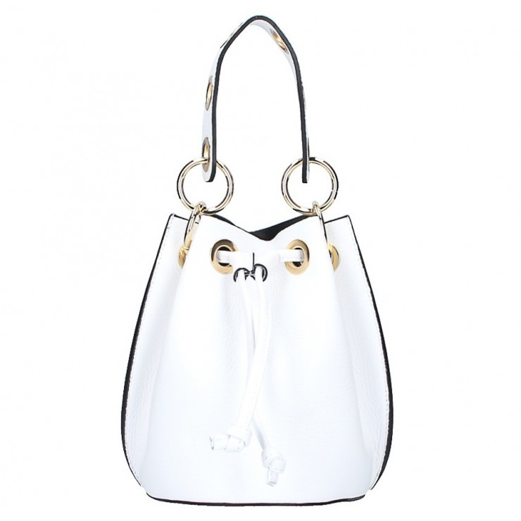 Genuine leather bucket bag 5319 white