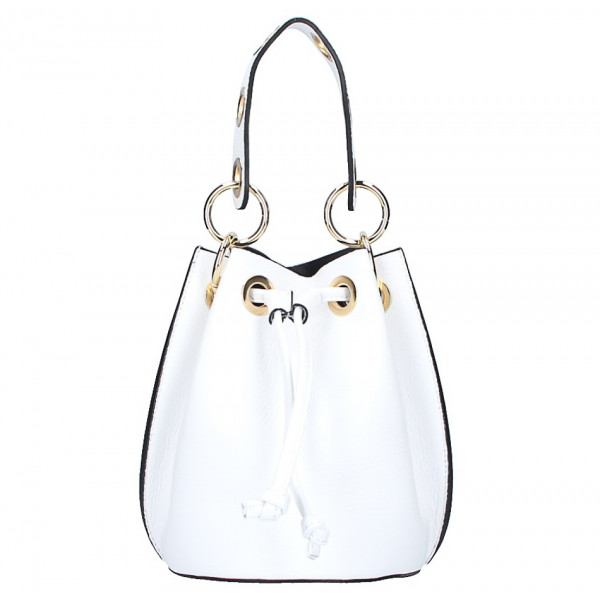 Biela vaková kožená kabelka 363