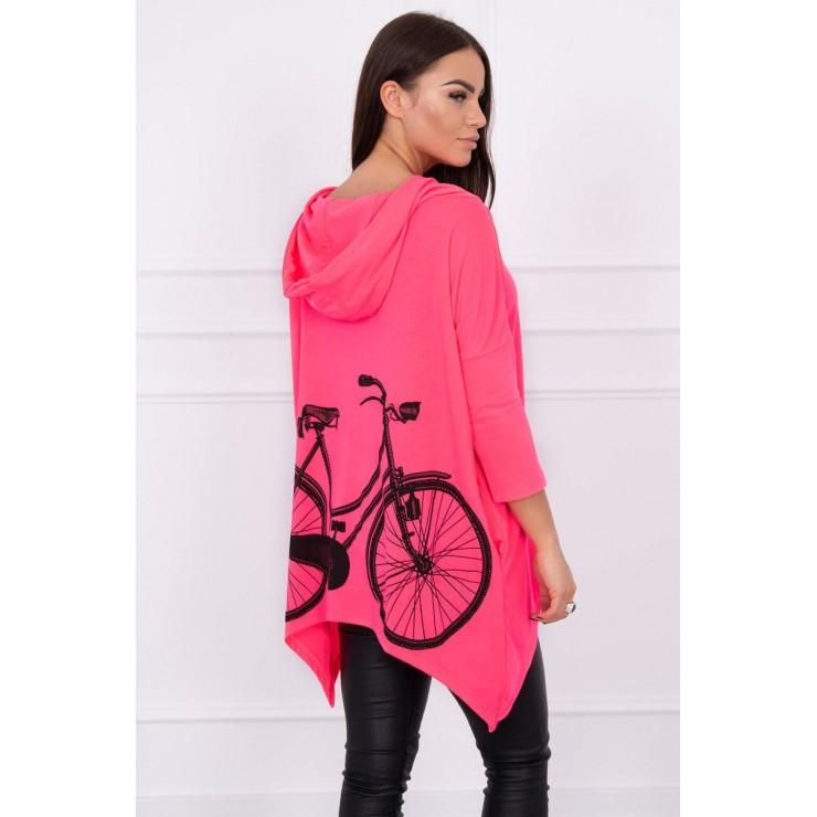 Dámska mikina s potlačou bicykla MI1934 ružový neón