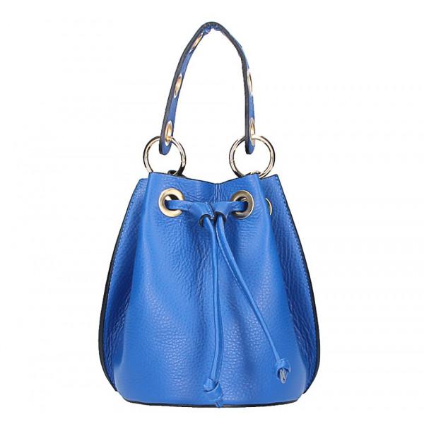 Azurovo modrá vaková kožená kabelka 363